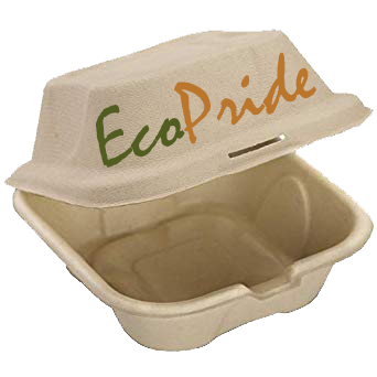 6 x 6 inch delivery burger box clamshell  , DISPOSABLES, BAGASSE, ECOPRIDE DUBAI, BIODEGRADABLE